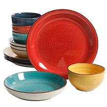Gibson Home Vibrant Colors  12-piece Mix and Match Dinnerware Set