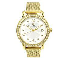 Giorgio Milano Goldtone Crystal-Accented Mesh Watch