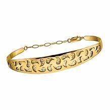 Golden Treasures 14K Gold Polished Diamond-Cut Safety Chain Bangle