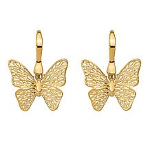 Golden Treasures 14K Polished Filigree Butterfly Earrings