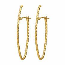 Golden Treasures 14K Rope Textured Oval Hoop Earrings