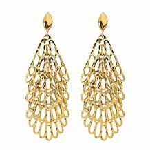 Golden Treasures 14K Tiered Fan Drop Earrings