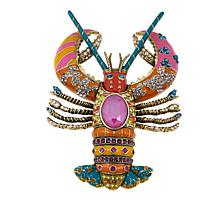 "Heidi Daus ""Luxe Lobster"" Crystal and Enamel Pin"