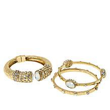 "Heidi Daus ""Suit Yourself"" Crystal Hinged Bangle Bracelet 3-piece Set"