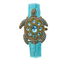 "Heidi Daus ""Turttley Obsessed"" Covered Dial Leather Strap Watch"