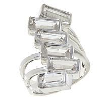 """Herkimer Mines Sterling Silver """"Diamond"""" Quartz 6-Stone Baguette Ring"""