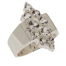 "Herkimer Mines Sterling Silver ""Diamond"" Quartz Cluster Ring"