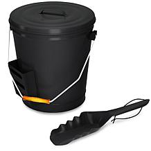 Home-Complete Black Ash Bucket with Lid and Shovel Fireplace Tools