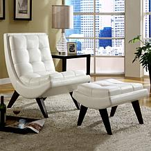 Home Origin Sophia Milky Chair with Ottoman