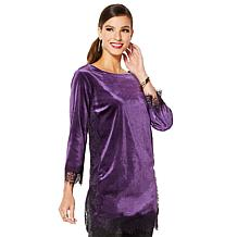 IMAN Global Chic Dressed & Ready Velvet with Lace Trim Tunic