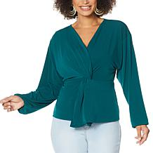 IMAN Global Chic Long Sleeve Twist-Front Top