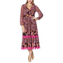 IMAN Global Chic Mixed Print Tiered Mesh Midi Statement Dress