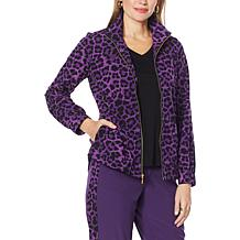 IMAN Global Chic Stretch Woven Zip-Front Jacket