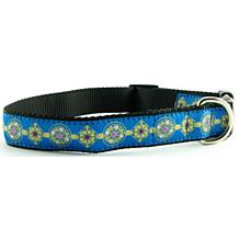Isabella Cane Woven Ribbon Dog Collar - Jewels Blue