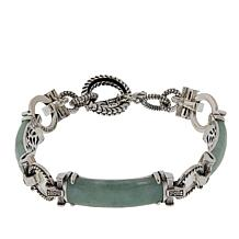 Jade of Yesteryear Green Jade and CZ Sterling Silver Station Bracelet