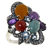Jade of Yesteryear Multicolor Jade, Gemstone and CZ Ring