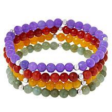 Jade of Yesteryear Set of Four Jade Bead Stretch Bracelets