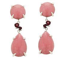 Jade of Yesteryear Sterling Silver Jade and Gemstone Drop Earrings