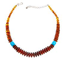 "Jay King Amber and Azure Peaks Turquoise Bead 18"" Necklace"