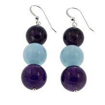 Jay King Amethyst and Aquamarine Bead Drop Sterling Silver Earrings