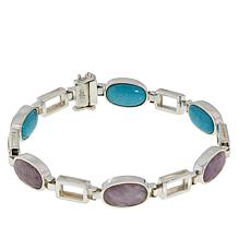 Jay King Kunzite and Cloudy Mountain Turquoise Link Bracelet