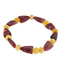 Jay King Pink Thulite and Yellow Opal Bead Stretch Bracelet