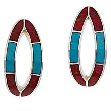 Jay King Sterling Silver Inlaid Gem Open J-Hoop Earrings