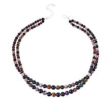 Jay King Sterling Silver Multi-Color Tourmaline Bead 2-Strand Necklace