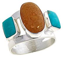 Jay King Sterling Silver Multi-Gemstone 3-Stone Ring