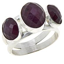 Jay King Sterling Silver Ruby 3-Stone Ring