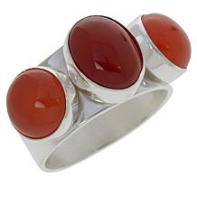 Jay King Sterling Silver Vermilion Chalcedony 3-Stone Ring