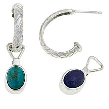 Jay King Tanzanite and Turquoise Reversible Drop Earrings