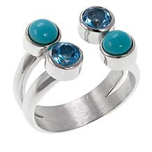 Jay King Turquoise and Blue Topaz Open Shank Sterling Silver Ring