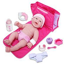 "JC Toys La Newborn 13"" Smiling Baby Doll Diaper Bag Gift Set"