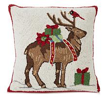 Jeffrey Banks Reindeer Tree Hand-Hooked Wool Pillow