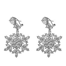 "Joan Boyce Leslie's ""Let It Snow"" 17.42tw CZ Snowflake Drop Earrings"