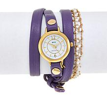 "La Mer ""Nepali"" White Seed Bead Lavender Leather Wrap Watch"