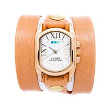 La Mer Oval Case Camel-Colored Leather Wrap Watch