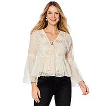 LaBellum by Hillary Scott Bell Sleeve Lace Crochet Blouse