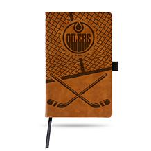 Laser-Engraved Brown Notepad with Elastic Band - Oilers