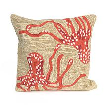 """Liora Manne Frontporch Octopus 18"""" Square Pillow -Coral"""