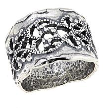 LiPaz Lace Cut-Out Sterling Silver Hammered Band Ring