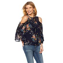 Lucky Brand Cold-Shoulder Floral-Print Blouse