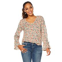 Lucky Brand Tie-Sleeve Printed Top