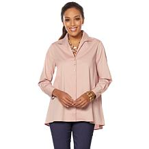 MarlaWynne Side Slit Poplin Shirt with Button Detail