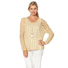 MarlaWynne V-Neck Open Stitch Sweater