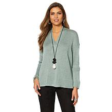 MarlaWynne V-Neck Twist-Front Detail Sweater