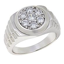 Men's 1.05ctw CZ Sterling Silver Cluster Ring
