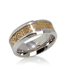Men's Filigree Inlay Stainless Steel Band Ring