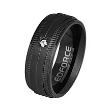 Men's Stainless Steel CZ Band Ring